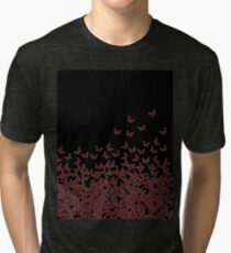 Butterfly Horde ;) Red on black, insects pattern Tri-blend T-Shirt