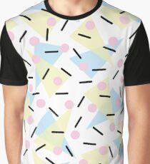 Funky Memphis Confetti Party Pattern Blue Pink Yellow. Graphic T-Shirt