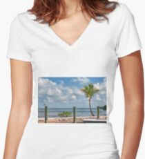 Tropical Vacation Women's Fitted V-Neck T-Shirt