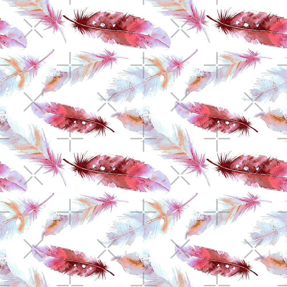 Watercolor BOHO Feather Pattern in PInk by IconicTee