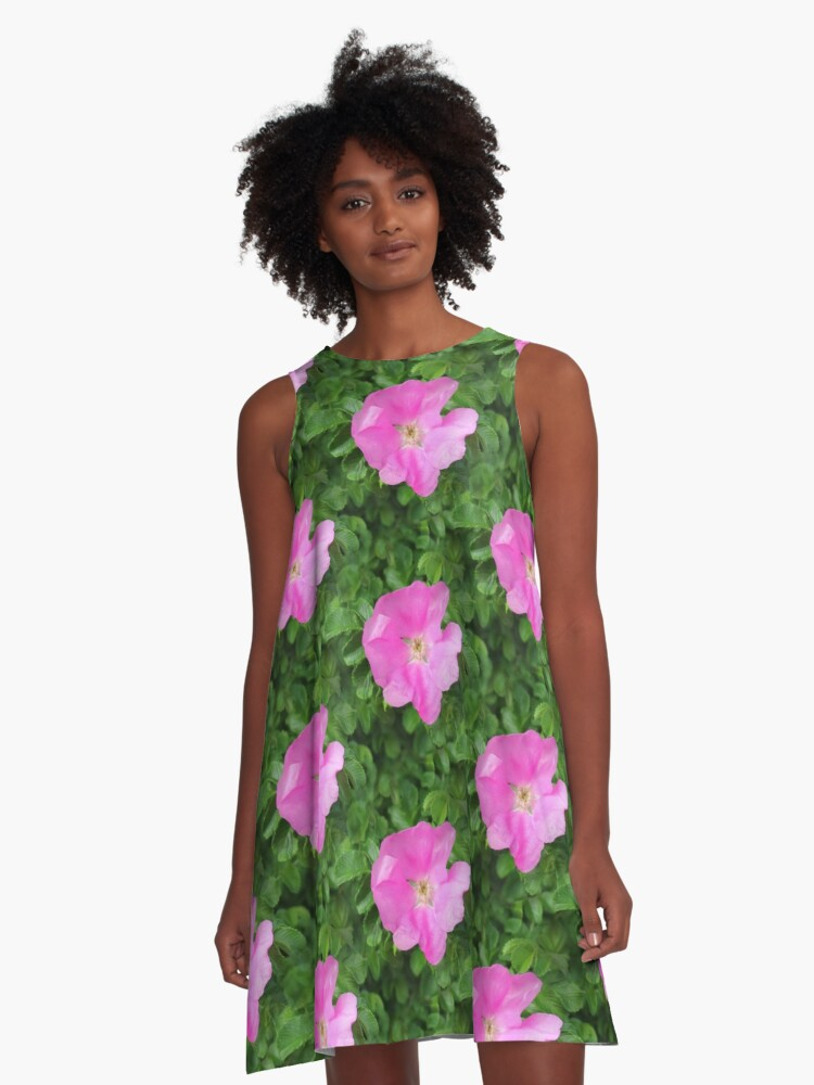 Wild Rose Pattern A-Line Dress Front