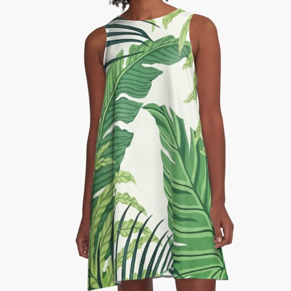 Green tropical leaves A-Line Dress