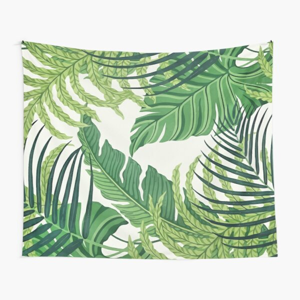 Green tropical leaves Tapestry