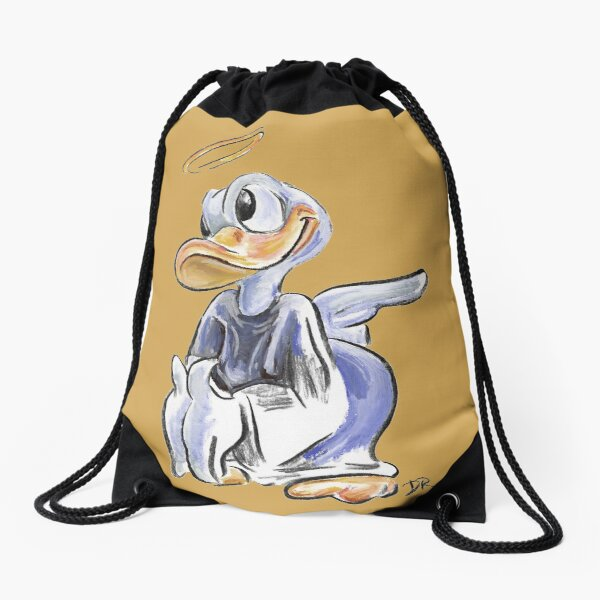 Charcoal and Oil - Angel Donald Duck Drawstring Bag