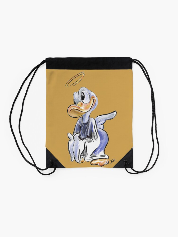Alternate view of Charcoal and Oil - Angel Donald Duck Drawstring Bag