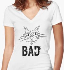 BAD Angry Cat Gift - For Cat Lover Women's Fitted V-Neck T-Shirt