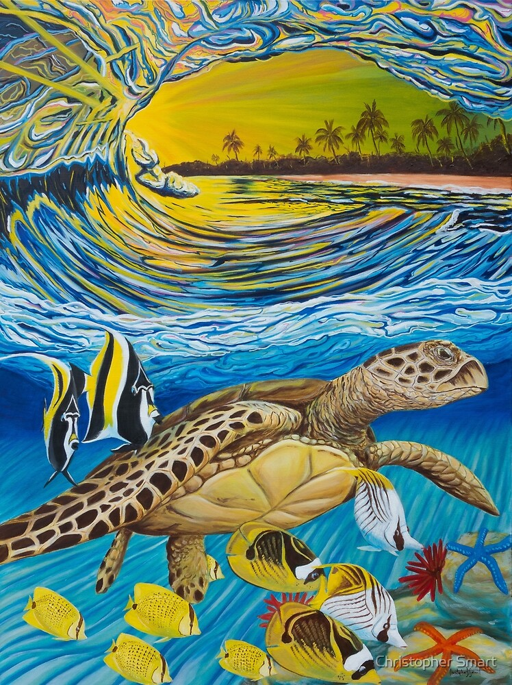 Pacific Escort - Crashing Waves and Sea Turtle by Christopher Smart