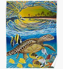 Pacific Escort - Crashing Waves and Sea Turtle Poster