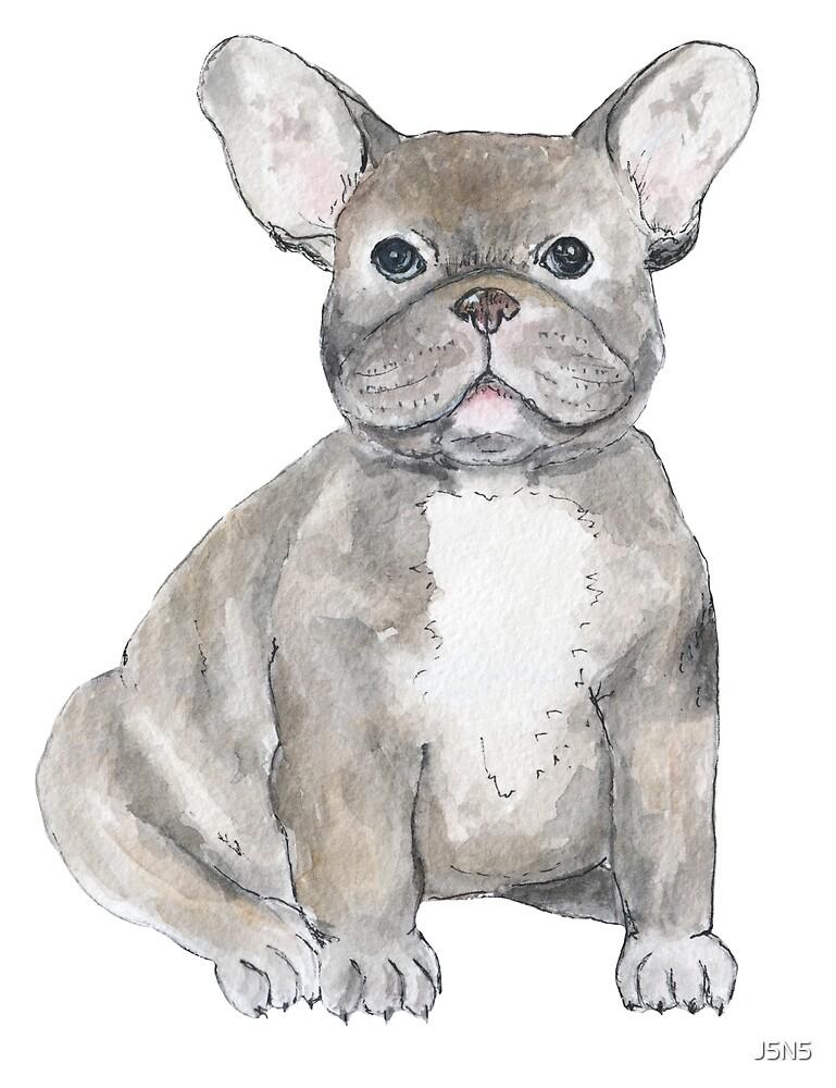 Cute watercolor dog by J5N5