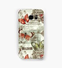 802 Floral, Retro Butterfly Pattern Print Samsung Galaxy Case/Skin