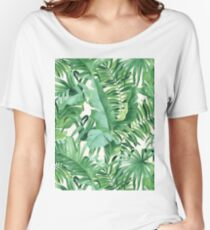 Green tropical leaves II Women's Relaxed Fit T-Shirt