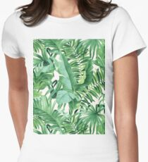 Green tropical leaves II Womens Fitted T-Shirt