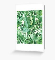 Green tropical leaves II Greeting Card