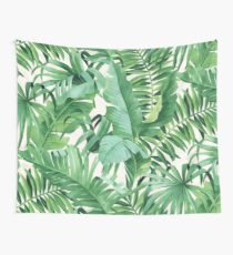 Green tropical leaves II Wall Tapestry