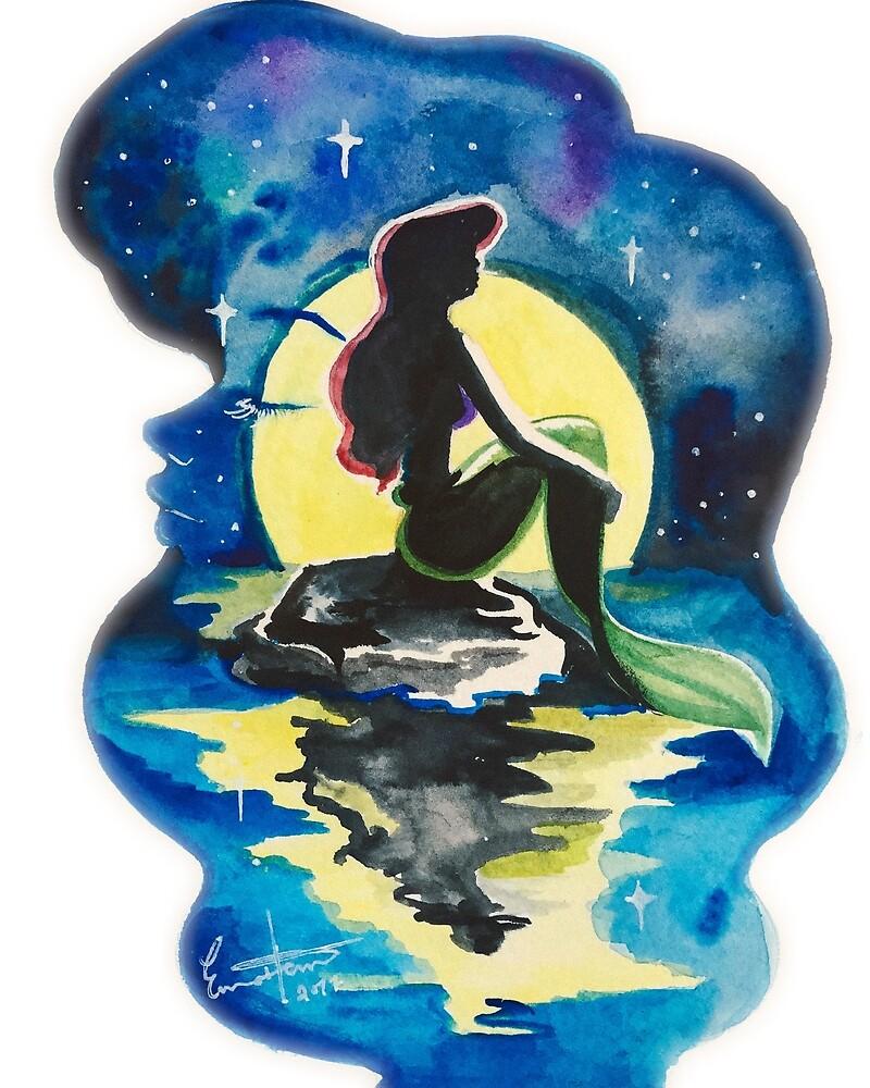 Little Mermaid Watercolor  by Emma  Heun