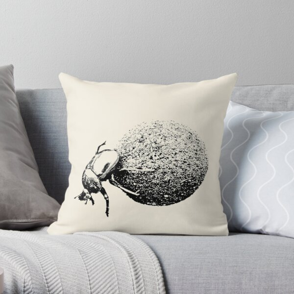 Dung Beetle Rolling Dung Ball | African Wildlife Throw Pillow
