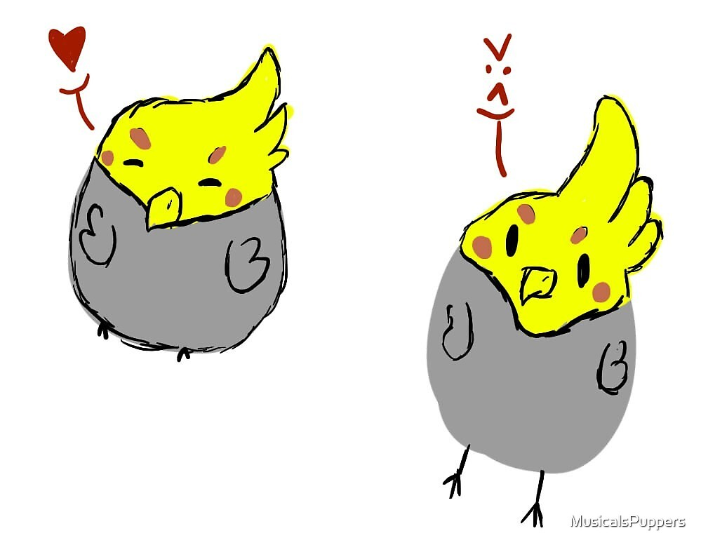 cockatiels by MusicalsPuppers