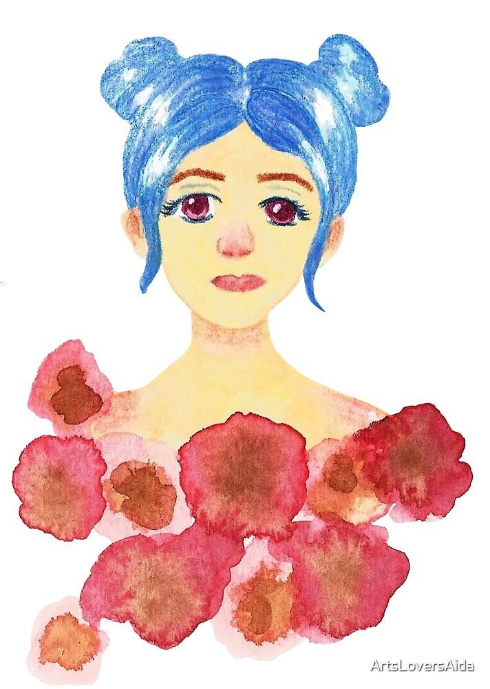 Tumblr girl and roses by ArtsLoversAida