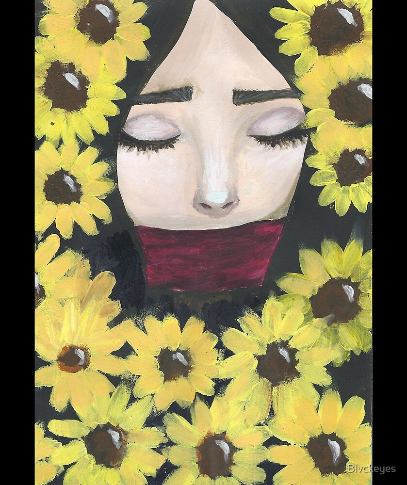Girl with sunflowers by Blvckeyes