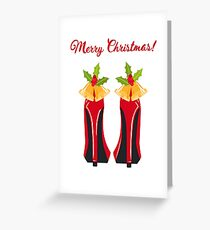 Red High Heels with Christmas Bells Greeting Card