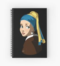 Pearl Earring (black background) Spiral Notebook