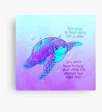 """It's okay to float along"" Colorful Sea Turtle Metal Print"