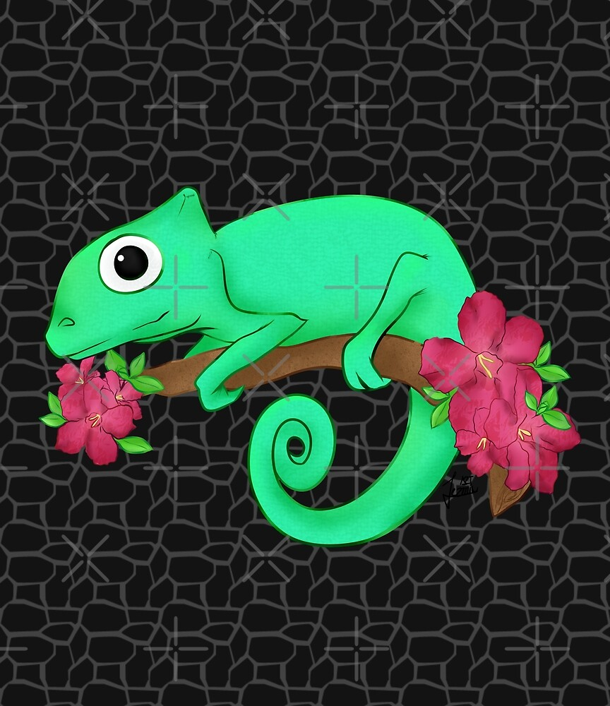 chameleon with flowers by JezminArt