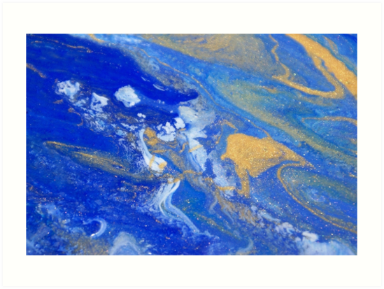 Blue & Gold Storm by Claire Stanford