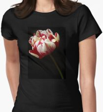Red and White Tulip. Womens Fitted T-Shirt
