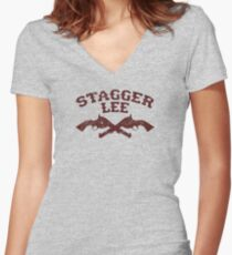 Stagger Lee - Crossed Pistols Edition Women's Fitted V-Neck T-Shirt