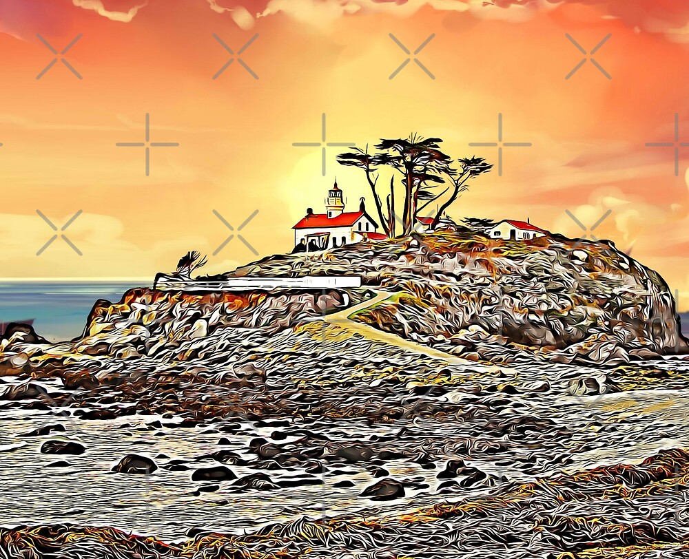 Battery Point  lighthouse in Crescent City, California by doniainart