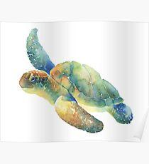 Watercolor Sea Turtle Poster