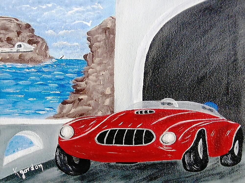 Zoomin Down the Highway in My Red Road Racer by WhiteDove Studio kj gordon
