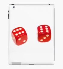Two red lucky dice double six on white background iPad Case/Skin