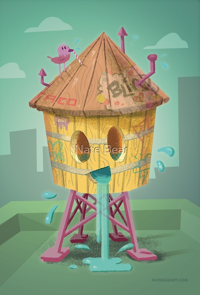 Happy Brooklyn Water Tower by Nate Bear
