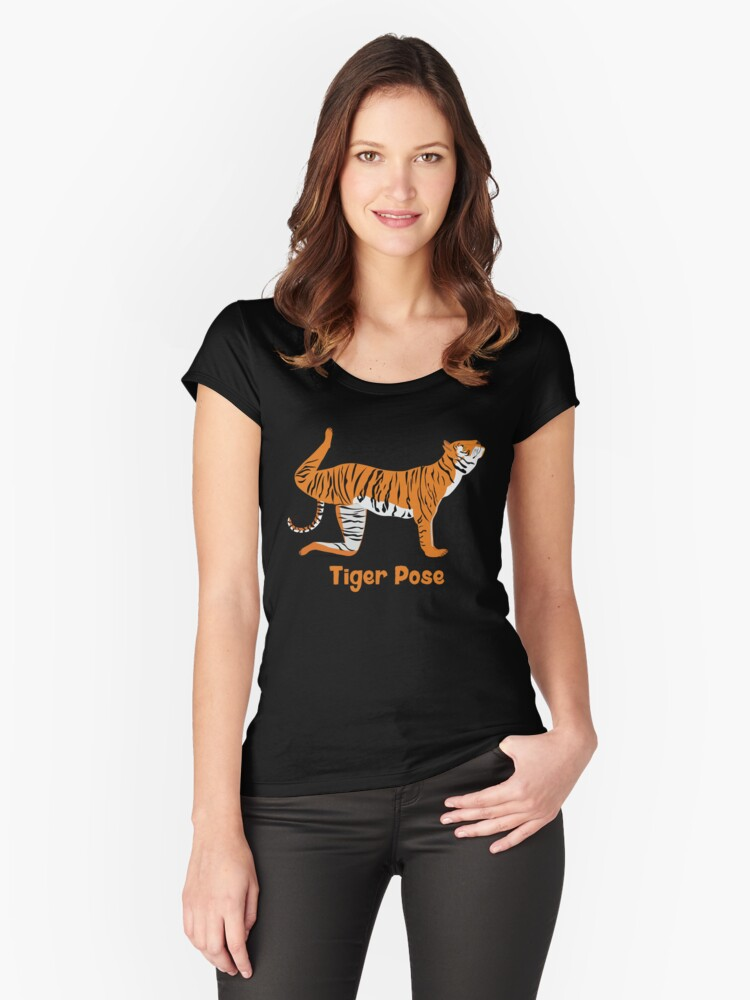 Animal Yoga Tiger Pose Women's Fitted Scoop T-Shirt Front