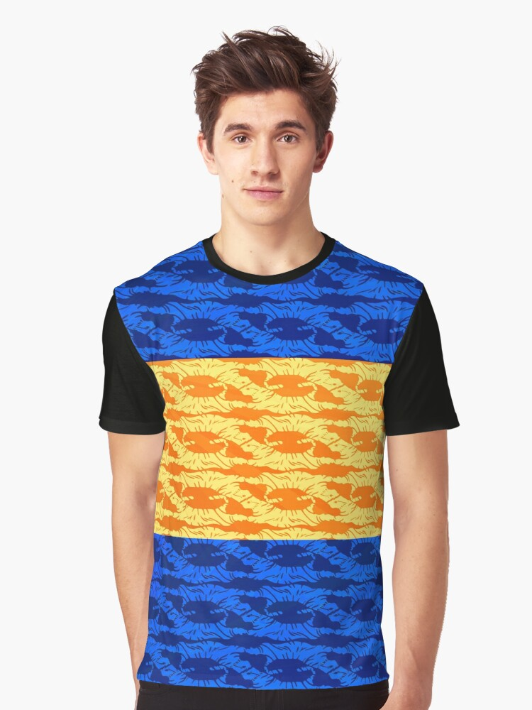 Tiger Motif - Navy & Orange Graphic T-Shirt Front