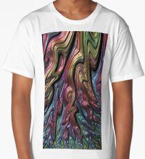Metallic oil slick rainbow 3D abstract art  Long T-Shirt