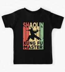 Shaolin Kung Fu Master Vintage Retro Kinder T-Shirt