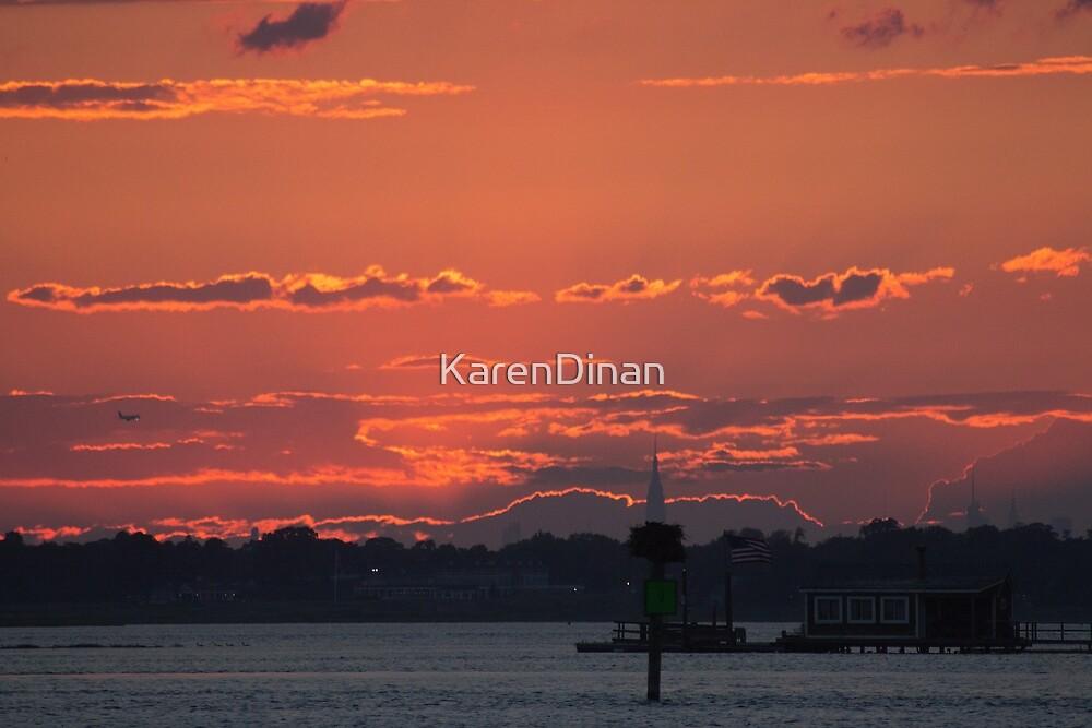 NYC City Skyline Sunset 2 by KarenDinan