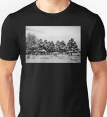 Snowy Winter Pine Trees In Black and White Unisex T-Shirt