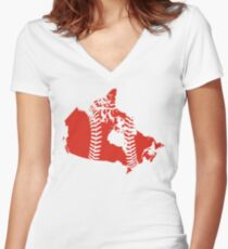 Canada Baseball Women's Fitted V-Neck T-Shirt