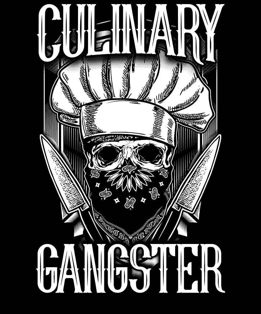 Culinary Gangster Knife Skull Graphic by treesak