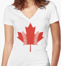 Maple Leaf Baseball Women's Fitted V-Neck T-Shirt