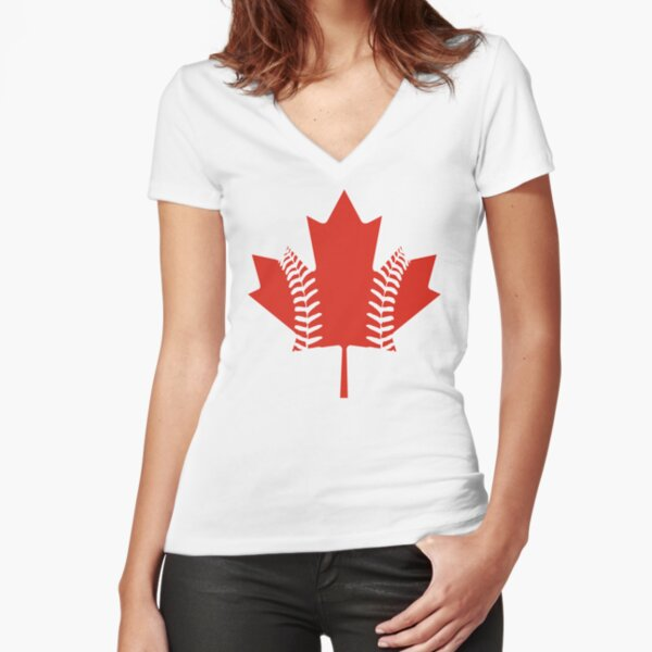 Maple Leaf Baseball Fitted V-Neck T-Shirt