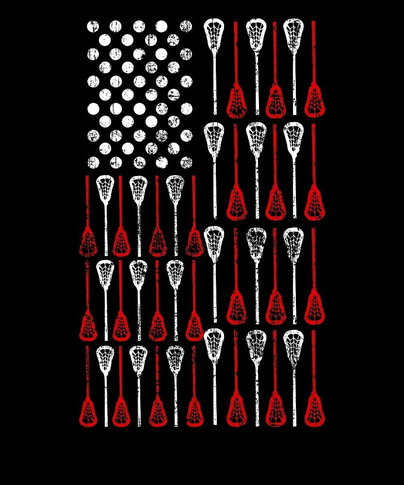 Lacrosse Sport American Flag Proud by treesak