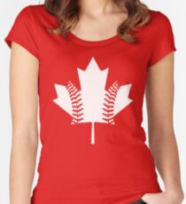 Maple Leaf Baseball (White) Women's Fitted Scoop T-Shirt