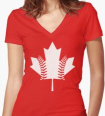 Maple Leaf Baseball (White) Women's Fitted V-Neck T-Shirt