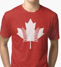 Maple Leaf Baseball (White) Tri-blend T-Shirt
