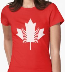 Maple Leaf Baseball (White) Women's Fitted T-Shirt